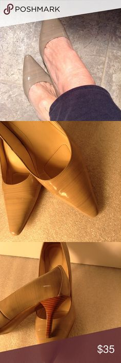"""CALVIN KLEIN Tan Patent Crackle Pointy Spike Heels Incredible style. Classic style. Elegant color.  Color is soft tan w very soft grayish blue strias running horizontally.  Pointy toes. Stacked Browns on the 5.5"""" spike heels.  Style is Dolly.  Size 8.5 Calvin Klein Shoes Heels"""