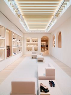 A light palette of materials is used throughout the interior of Bottega Veneta's shop in Beverly Hills