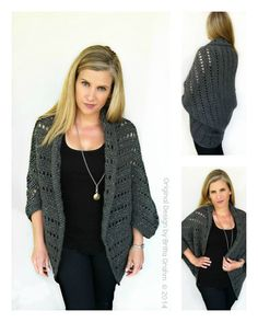 Oversized Chunky Ladies Shrug Crochet Pattern No.920 Digital Download PDF Womens Cardigan Pattern by bubnutPatterns on Etsy https://www.etsy.com/listing/208546042/oversized-chunky-ladies-shrug-crochet