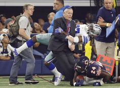 Vernon Bryant/Staff Photographer. Dallas Cowboys free safety J.J. Wilcox (27) runs into a person on the sideline after tackling Chicago Bears running back Jordan Howard (24) during the first half of play at AT&T Stadium in Arlington on Sunday, September 25, 2016. (Vernon Bryant/The Dallas Morning News) Share This Photo On...
