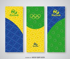 Set of vertical banners for Rio 2016 Olympics with Brasil flag's colors and Rio 2016 logo. Design includes geometric shapes on the background. Perfect for