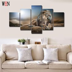 Lion Canvas Painting HD Printed Animals Group Home Decor Wall Pictures For Living Room 5 Pcs Modular Pictures Cuadros Decoracion