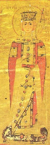 Maria of Antioch (1145–1182) was a Byzantine empress as the wife of the Byzantine Emperor Manuel I Komnenos. She was the daughter of Constance of Antioch and her first husband Raymond of Poitiers. Her only son was Alexios II Komnenos, who succeeded Manuel in 1180, and died three years afterwards at the age of 14.