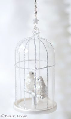 Beaded wire birdcage decoration on Torie Jayne Christmas Colors, Christmas Tree Decorations, Christmas Time, Christmas Ideas, Xmas, All White, Black And Brown, Pastel, Bird Cages