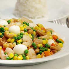 Shrimps with Quail Eggs and Green Peas Recipe