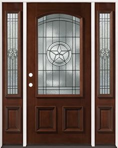 3/4 Arch Mahogany Wood Entry Texas Star with 2 Sidelites - front entry door from Door Clearance Center