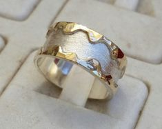 Silver and Gold Jewelry Designer by TalyaHarelDesign Silver Wedding Rings, Bridal Rings, Wedding Ring Bands, 14k Gold Ring, Sterling Silver Rings, Gold Rings, Gold Jewellery Design, Gold Jewelry, Unique Jewelry