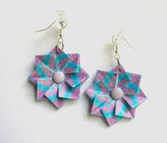 Origami Dangle Earrings - Soft Blue and Purple Paper Jewelry   P04011. $12.50, via Etsy.