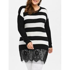 Plus Size Striped Lace Insert Sweater