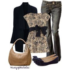 Kind of dressy casual with the jeans. I like the flat ballet shoes.