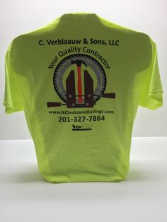 7a8657b0 4-Color Screen Print on Safety Green T-Shirts.