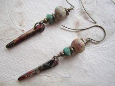 Autumn Spike Earrings, Greek Skinny Spike, Fall Colors, rust, brown, green, Okra, Stoneware Clay, handmade bead, Antique Brass by bohosoulsister on Etsy
