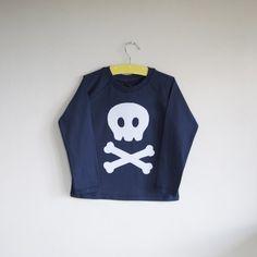 Camiseta manga larga calavera apliques por cheekycharlieTs en Etsy, £18.00