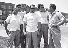 "This photo from the book ""Shadow of My Father"" by John (Junior) Gotti shows (l. to r.) unknown, Frankie DeCicco, George Remini, John Gotti, unknown and Mickey Boy Paradiso at Lewisburg Federal Penitentiary in 1970."