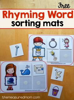 Print these free printable sorting mats to teach rhyming words in preschool and kindergarten. Such a fun activity for building phonological awareness! Rhyming Activities, Kindergarten Centers, Kindergarten Literacy, Preschool Worksheets, Rhyming Preschool, Literacy Centers, Phonological Awareness Activities, Math Games, Tracing Worksheets