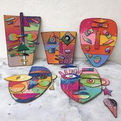 Masques en carton, pastels, posca et acrylique Inspiration : masques de Kimmy Cantrell et portraits de Sandra Silberzweig