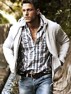 Sexy man in jeans. Men's Fasion