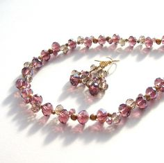 Crystal and Freshwater Pearl Necklace and Earring Set £22.00
