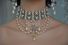 Bridal Choker Necklace,Victorian Wedding,Swarovski Crystal Necklace,Rhinestone Choker,Filigree,Pearl Choker,Vintage Style Choker,HARMONY