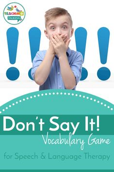 Have you used Don't Say It for Speech Therapy? It is great for encouraging school aged kids to get creative with their vocabulary and descriptive language. Social Skills Activities, Vocabulary Activities, Language Activities, Teaching Vocabulary, Speech Therapy Activities, Speech Language Therapy, Speech And Language, Language Games For Kids, Communication Development