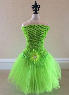Tinkerbell Tutu Dress Green Tutu Set Tinkerbell by partiesandfun, $20.00