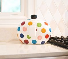 Happy Everyting Multi Dot Cookie Jar by Coton Colors, http://www.amazon.com/dp/B007Y76THA/ref=cm_sw_r_pi_dp_Q8vYqb0P1W1C7