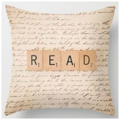 Bookish throw pillow with read message in Scrabble tiles