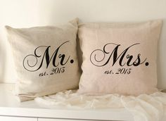 Burlap pillow cover 40x40 established sign custom monogram personalized burlap pillow case groom gift from bride wedding gift husband gift