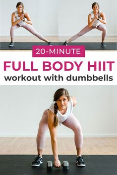 Sculpt your arms, legs, booty and core muscles in just 20 minutes with this AT HOME, full body workout! It combines strength training with HIIT for an effective, sweaty workout you can do at home! 20 Minute Hiit Workout, Hiit Workout Videos, Shred Workout, Full Body Hiit Workout, Workout Videos For Women, Dumbbell Workout, Body Workouts, Workout Ideas, Fast Workouts