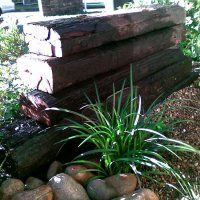 A shady spot next to the railway sleeper wall. Edible kids gardens.com.au