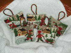 Prairie Schooler snow scenes cross stitch ornaments
