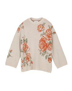 FARRAH - Rose intarsia sweater - Creme Intarsia Patterns, Knitting Patterns, Sweater Making, Knitwear, Bell Sleeve Top, Graphic Sweatshirt, Rose, Sweatshirts, Floral