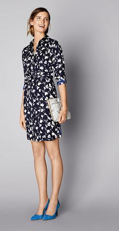 Try a shirtdress with a little pattern play