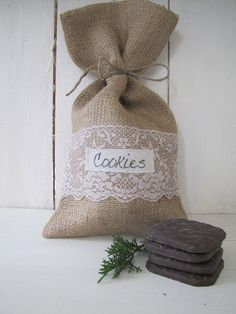 COOKIES Lace & Burlap Gift BagsSet of FOUR by funkyshique on Etsy, $24.00