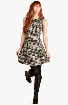 Donna Morgan Faux Leather Trim Ponte Knit Fit & Flare Dress available at #Nordstrom