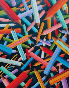 """""""Pencils"""" 2007, olio su tela, 90x70"""