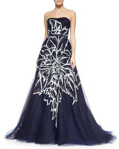 Strapless Floral-Embroidered Tulle Ball Gown, Navy by Carolina Herrera at Neiman Marcus.