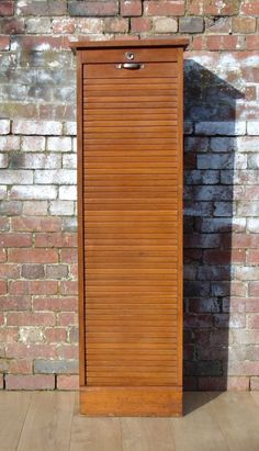 Industrial French Oak Tambour Front Cabinet