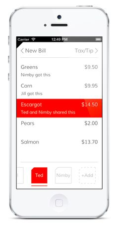 Tab is an iOS and Android app that makes splitting bills easier. To use the app, you take a photo of your table's receipt with a smartphone and then Mobile Ui Design, App Design, Financial Apps, Check In App, Cool Tech Gifts, Professional Website, Best Apps, Design Quotes, Screen Shot