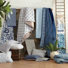 Our new assortment of bedding and quilts were inspired by pieces we picked up and brought home from textile markets on the street.