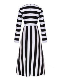 92f2331a03 Long Sleeve Round Neck Striped Maxi-dress