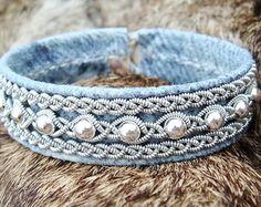 Denim Leather Swedish Lapland Bracelet Cuff YDUN Nordic Viking Jewelry with Sterling Silver Beads - Custom Handmade Tribal Elegance. Denim Bracelet, Fabric Bracelets, Viking Bracelet, Viking Jewelry, Cuff Bracelets, Fabric Beads, Fabric Jewelry, Handmade Leather Jewelry, Denim Crafts
