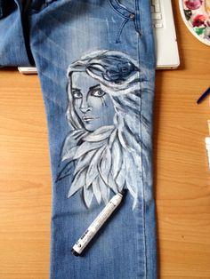 Angel Angel, Jeans, Art, Angels, Kunst, Gin, Denim Pants, Art Education, Jeans Pants