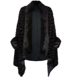 Cameo Rose Black Faux Fur Cape