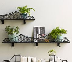 DETAILS Make an architectural element part of your indoor décor. Made of epoxy-coated iron, this sturdy bridge will provide a safe passage for candles, potted plants or other curios you wish to displa Trendy Home Decor, Affordable Home Decor, Handmade Home Decor, Cheap Home Decor, Unique Wall Shelves, Wall Shelf Decor, Shelf Display, Decoracion Low Cost, Deco Originale
