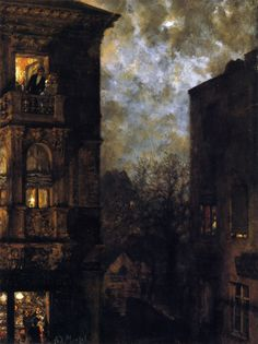 Adolf Von Menzel - Corner of a House in the Moonlight c. Nocturne, Adolf Von Menzel, Illustrator, Moonlight Painting, American Gothic, Classical Art, Paintings I Love, Art World, Gouache