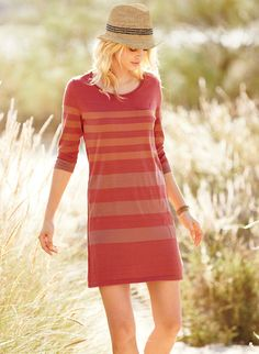 Cool and carefree, the fine gauge pima tunic-dress will sail with you through the warm days ahead. Striped in zesty guava, persimmon and blush, the body-skimming A-line has a rolled-edge neckline, ¾-sleeves and tiny breast pocket.