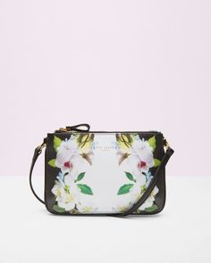 Forget Me Not leather cross body bag - Black | Bags | Ted Baker
