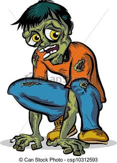 EPS Vectors of Crouching Zombie Character - Scary zombie cartoon ...