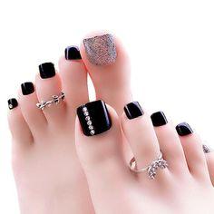 Glitter Toe Fake Nails Artificial Short Square Press On Pre-designed Nail Decors Simple Toe Nails, Pretty Toe Nails, Cute Toe Nails, Toe Nail Art, Gorgeous Nails, Nail Nail, Pedicure Designs, Manicure E Pedicure, Toe Nail Designs